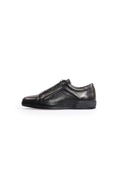 Siyah Deri Bağcıklı Erkek Spor Ayakkabı