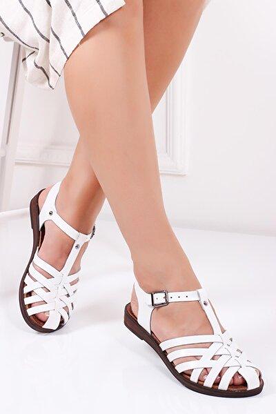 Hakiki Deri Beyaz Kadın Deri Sandalet Dp-0067
