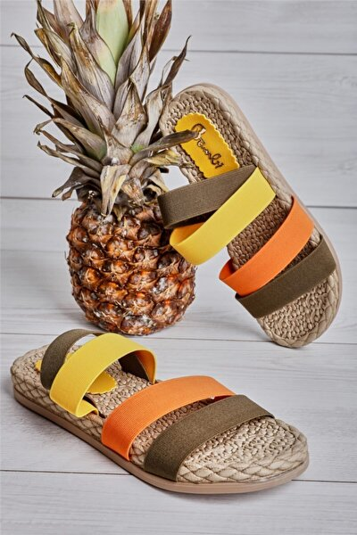Haki/siyah/sarı Kadın Sandalet L0682020054