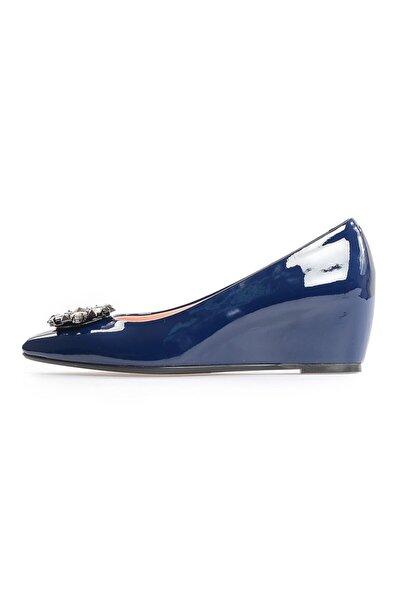 Lacivert Rugan Taşlı Günlük Ayakkabı