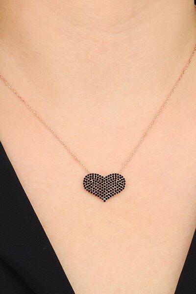 Kadın 925 Ayar Gümüş Siyah Taşlı Kalp Kolye