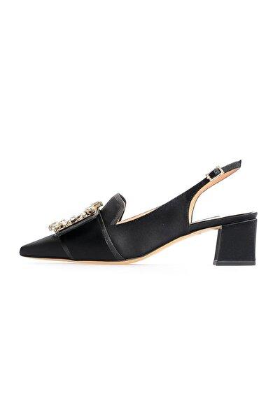 Siyah Saten Kalın Topuklu Ayakkabı