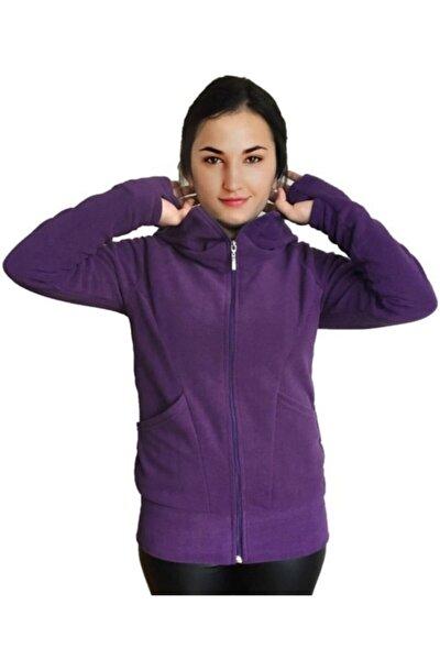 Kadın Eldivenli Polar Sweatshirt Hırka