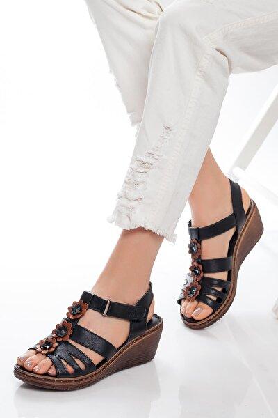 Hakiki Deri Siyah Kadın Dolgu Topuklu Deri Sandalet Dp05-0503