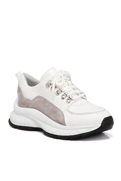 Beyaz Kadın Deri Ayakkabı 65302k02