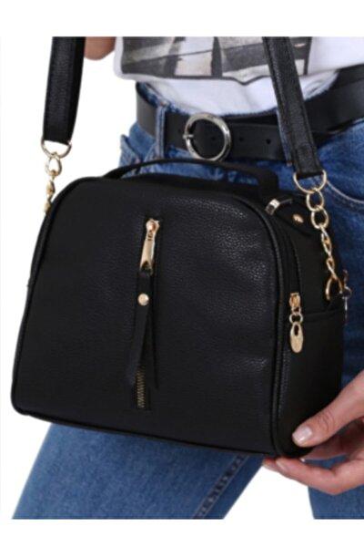 Siyah Çanta Kadın El Omuz Uzun Deri Saplı Çanta-siyah