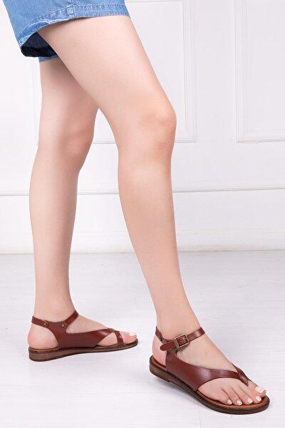 Hakiki Deri Kahverengi Kadın Deri Sandalet Dp-0081