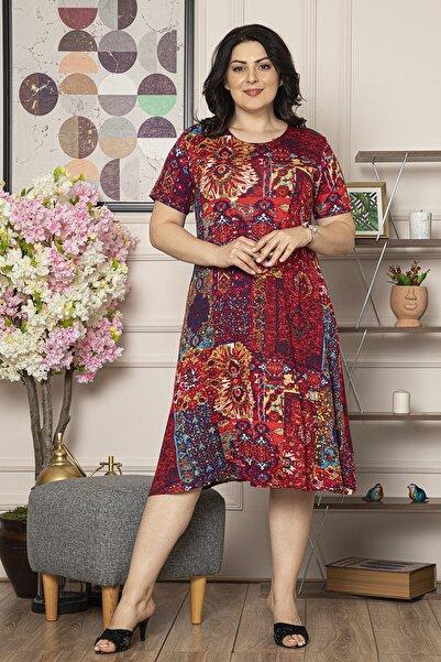 Kadın Büyük Beden Çiçek Baskılı Çok Renkli Viskon Elbise