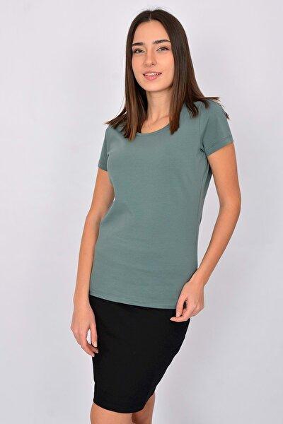 Pamuk Kısa Kollu Kadın T-shirt Yeşil