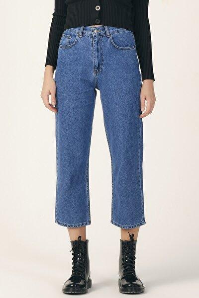 Kadın Mavi Renk Wide Leg Kalıp Yüksek Bel Jean