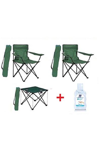 2 Adet Katlanır Kamp Sandalyesi + 1 Adet Masa Piknik Çantalı + Jel
