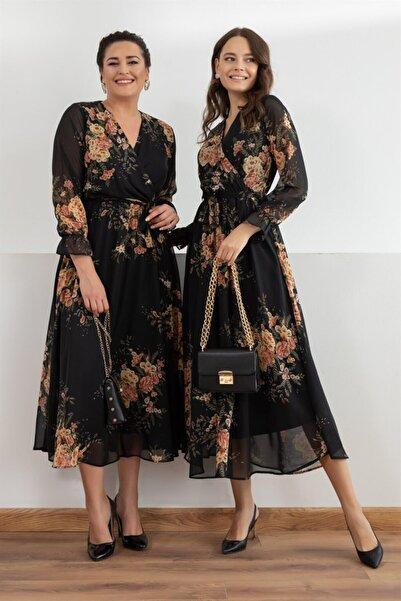 Siyah Sarı Çiçekli Kruvaze Yaka Büyük Beden Şifon Elbise