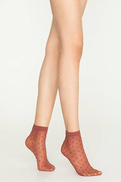 Pembe Tarçın Ant Soket Çorap