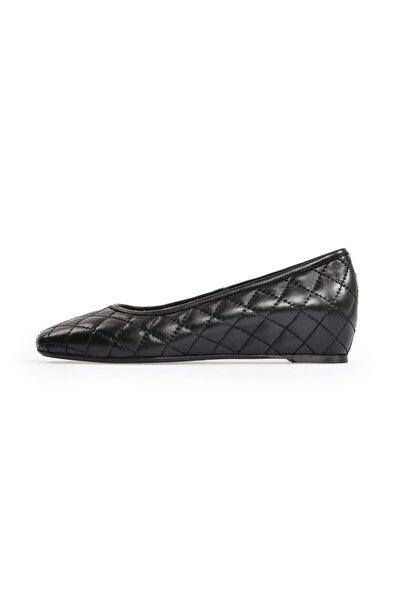 Siyah Deri Günlük Dolgu Ayakkabı