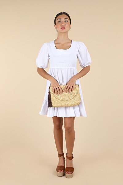 Beyaz Beli Lastikli Mini Elbise