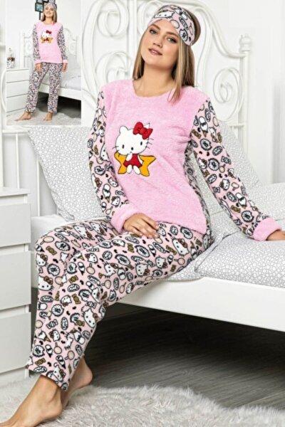 Kadın Pembe Polar Göz Bantlı Kışlık Pijama Takımı