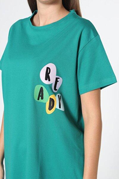 Zümrüt Baskılı Kısa Kol T-shirt