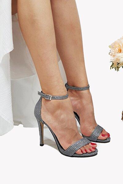Pamela Platin, Simli, Ince Topuklu Abiye Ayakkabı