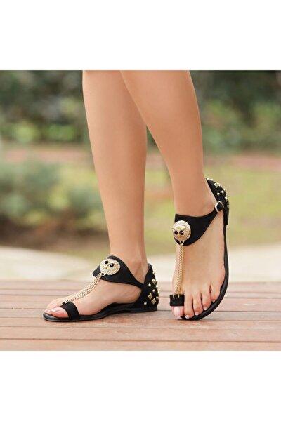 Lilya Süet Siyah Baykuşlu Parmak Arası Sandalet