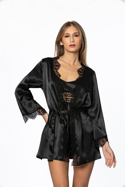 Kadın Saten Dantelli 3'lü Pijama Şort  & Sabahlık Takım 2490 Siyah