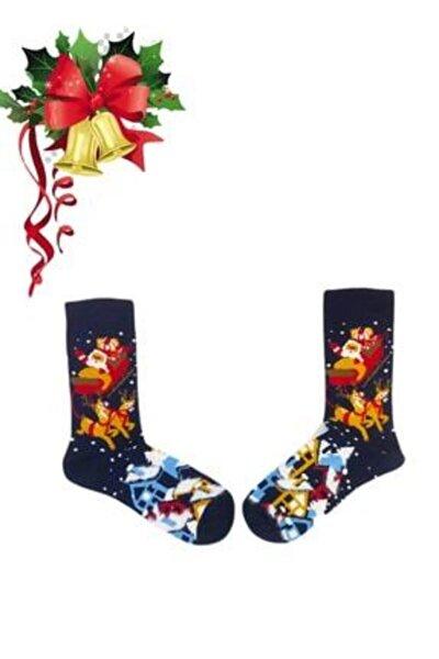Siyah Noel Desenli Unisex Soket Çorap