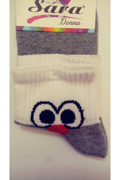 2 Çift Gri Renk Civciv Figürlü Patik Çorap