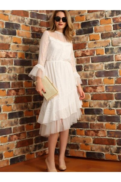 Mcg 269 Beyaz Tül Detaylı Asimetrik Kesim Elbise