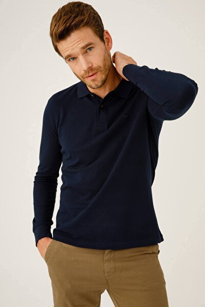 Erkek Lacivert Standart Polo Yaka Sweatshirt