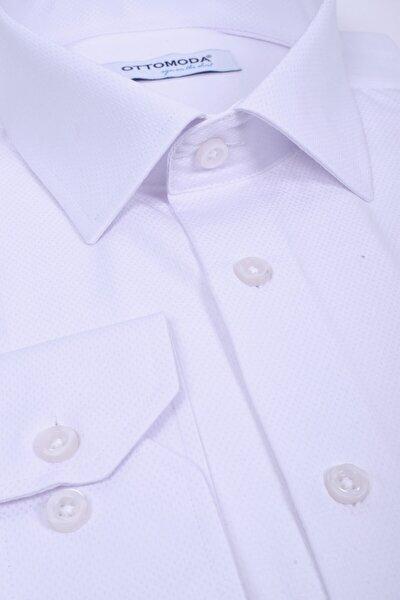 Beyaz Uzun Kollu Cepli Armürlü Klasik Gömlek