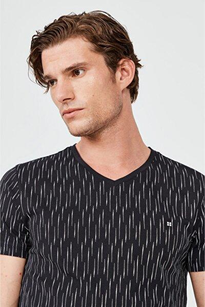 Erkek Siyah V Yaka Baskılı T-shirt A02y1040