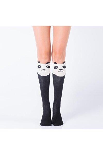 Joyful Panda Kadın Dizaltı Çorap - Siyah