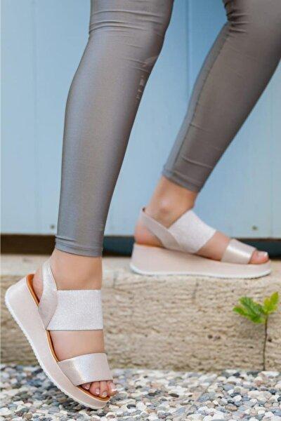 Hakiki Deri Pudra Simli Kadın Deri Sandalet Dp08-5016