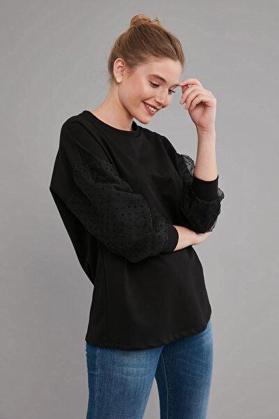Bluz Sıfır Yaka- Kol Parçası Organze Kombinli, Örme