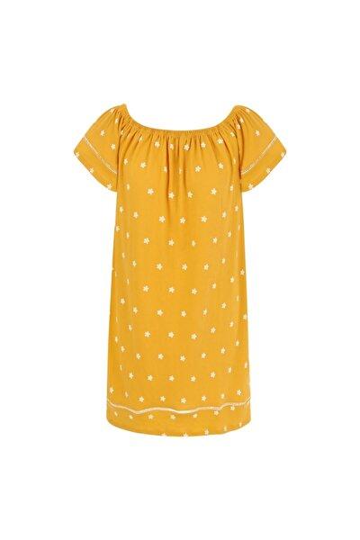 Düşük Omuz Çiçekli Midi Elbise