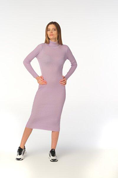 Lila Fitilli Bodycon Örme Triko Elbise
