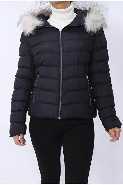 Kadın Siyah Aura Tüy Kapüşonlu Şişme Mont