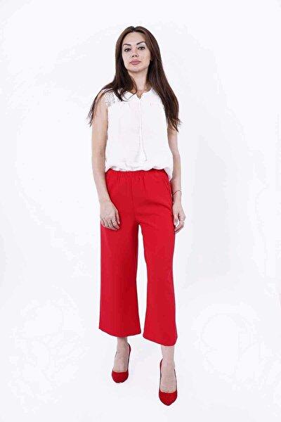 Kadın Kırmızı Beli Lastikli Cepli Midi Boy Bol Paça Pantolon Y-3834-013