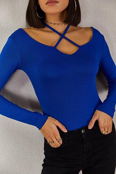Mavi Çapraz Askılı Açık Yaka Bluz-tb-1028