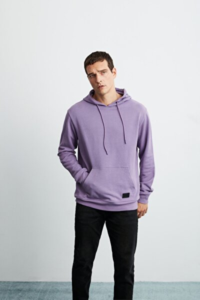 JORGE Erkek Mor Basic Kapüşonlu Sweatshirt
