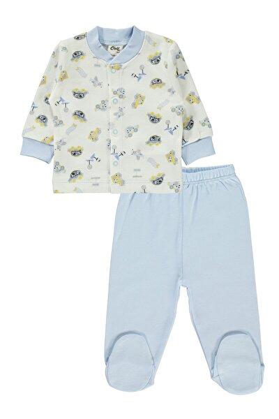 Erkek Bebek Pijama Takımı 0-6 Ay Mavi