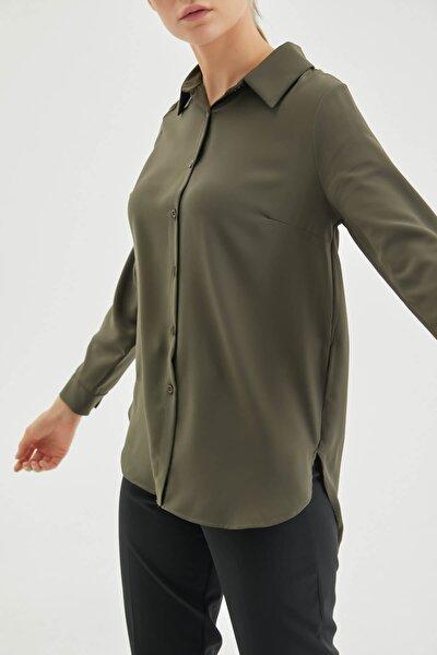 Haki Şifon Basic Gömlek