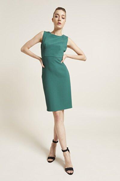 Kadın Yeşil Kolsuz Dar Elbise