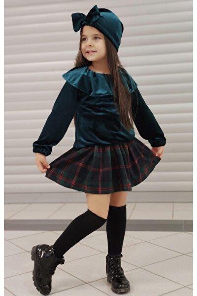 Kız Çocuk Zümrüt Kadife Pileli Etekli Takım