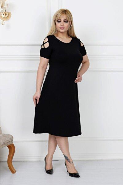 Kadın Siyah Büyük Beden Kolları Çapraz Biye Lı Viskon Elbise