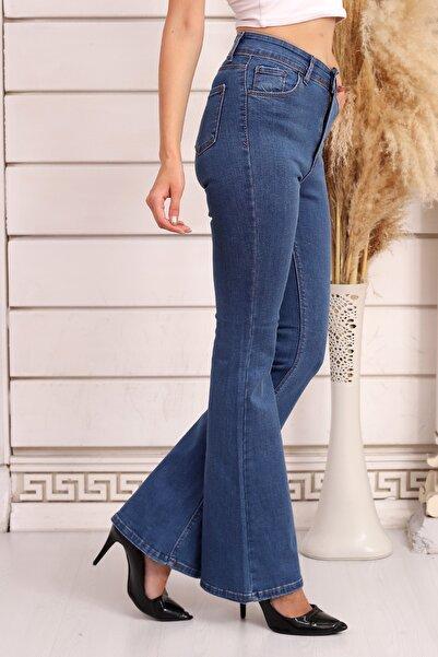 Özel Tasarım, Yüksek Bel, Ispanyol Paça, Full Likralı, Toparlayıcı, Rahat, Yumuşak Kot Pantolon