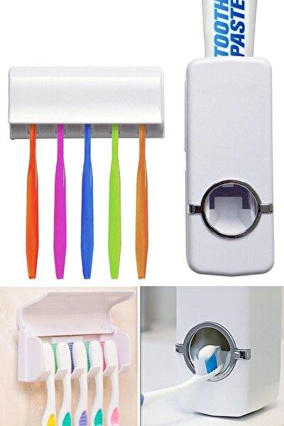 Diş Macunu Sıkacağı Diş Fırçalığı 5 Adet Diş Fırçası Tutuculu