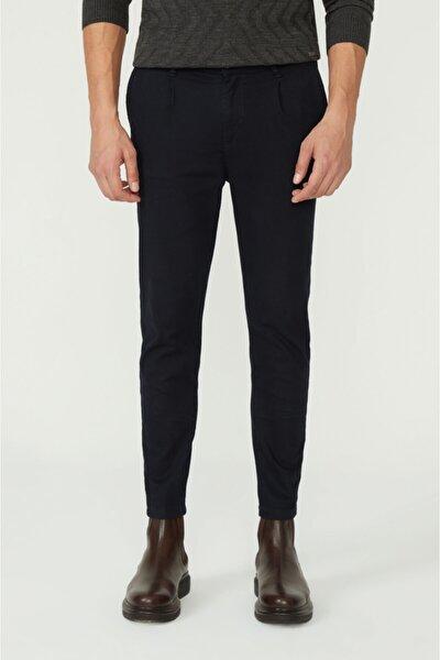 Erkek Lacivert Yandan Cepli Pileli Düz Slim Fit Pantolon A02y3026