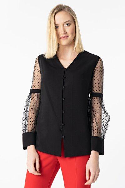 Kolları Tül Salaş Bluz Y-7601-09- Siyah