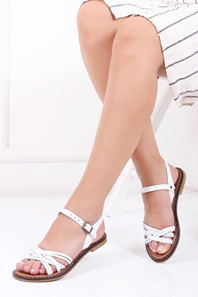 Hakiki Deri Beyaz Kadın Deri Sandalet Dp28-0830