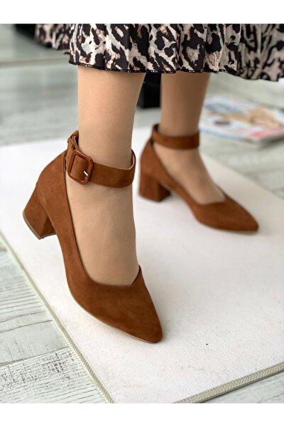 Bilekten Kemer Detaylı Kadın Topuklu Ayakkabı-s. Taba